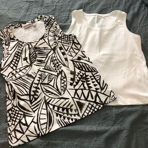Set of 2 NWOT Chicos tanks brown and white size 2